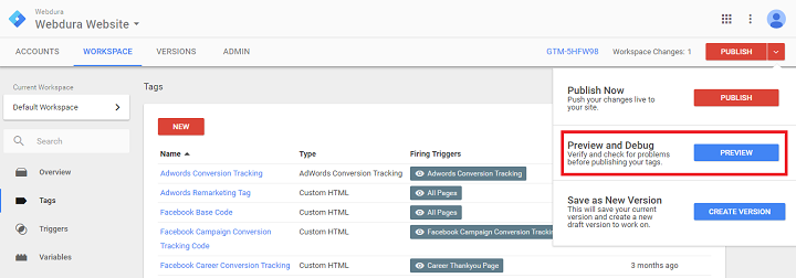 google tag manager event tracking preview and debug button