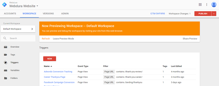 google tag manager event tracking preview and debug mode