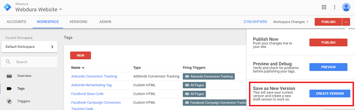 google tag manager event tracking version button