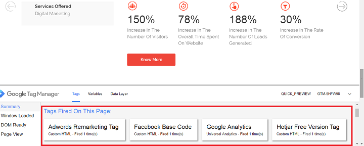 google tag manger event tracking with tags fired on the page