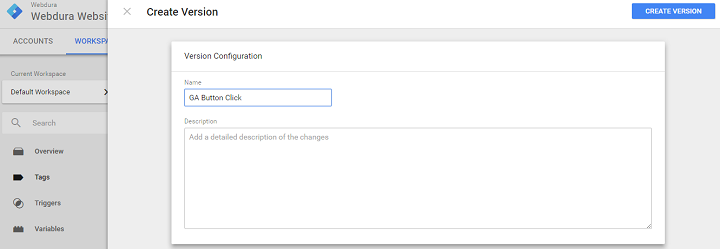 google tag manager event tracking version creation
