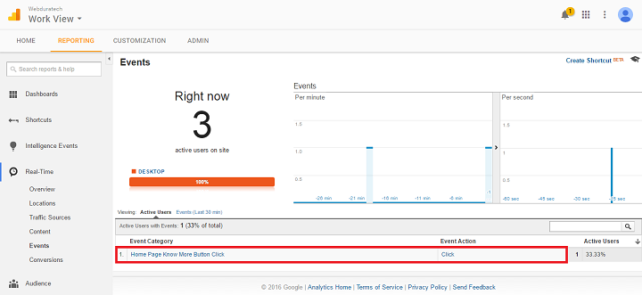 google tag manager analytics real time reporting