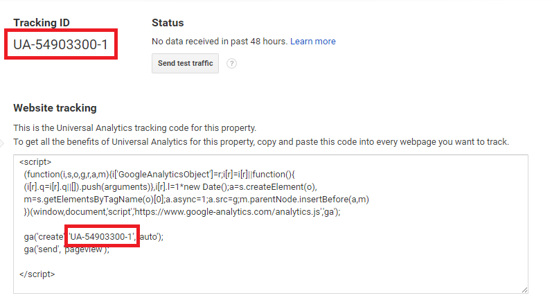finding google analytics property tracking id and code - google analytics tracking id found