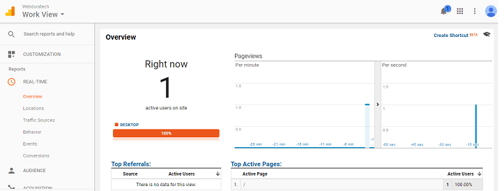 google analytics real time reporting