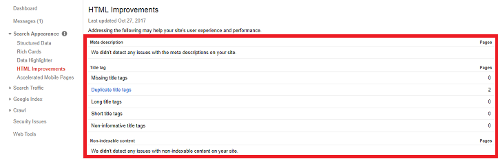 Google Search Console HTML improvements - Search Appearance Feature