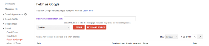 Google Search Console Fetch as Google Feature