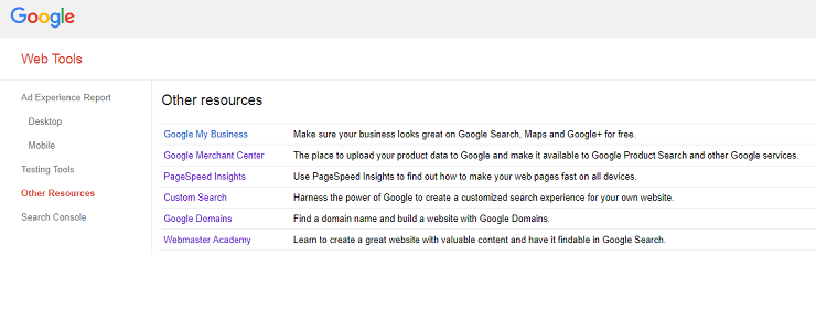 Google Search Console Tutorial - Other Resources in Web Tools