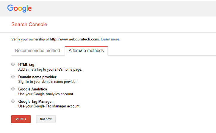 Google Search Console Website Ownership Verification Methods