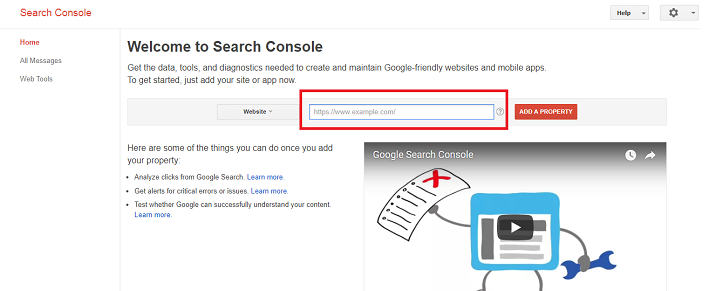 Google Search Console Property Creation