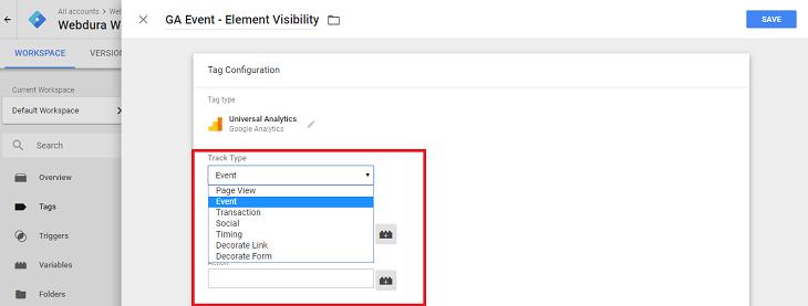 Google Analytics Event Track Type